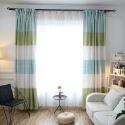 Moderner Vorhang aus Polyester in Cyan+Grün+Weiß (1er-Pack)