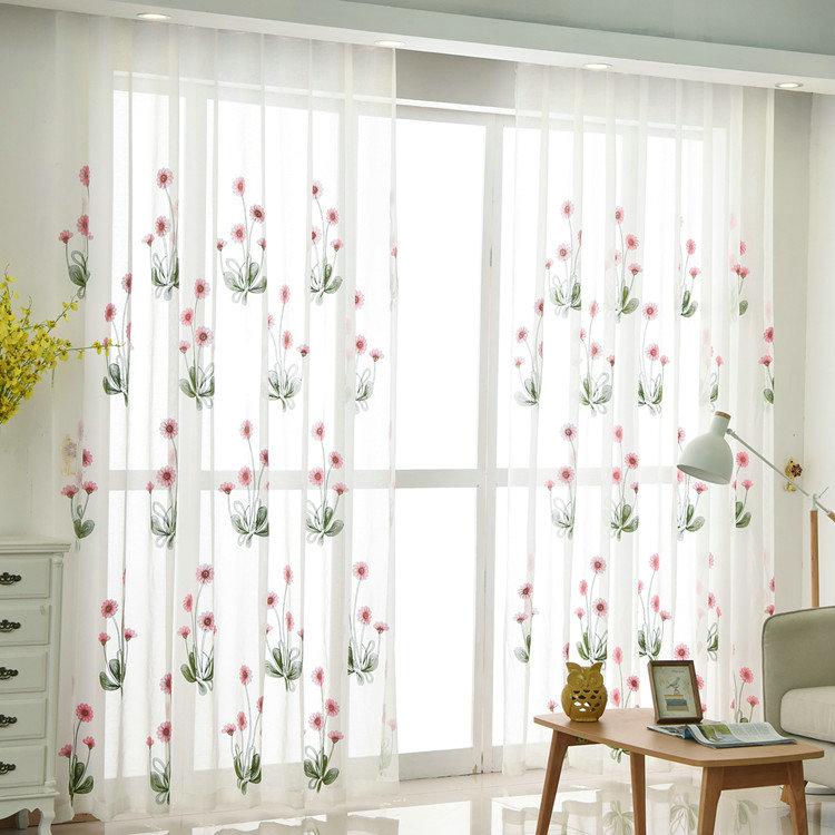 Moderne Gardine Blumen Stickerei Design im Schlafzimmer