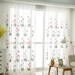 Moderne Gardine Blumen Stickerei Design im Schlafzimmer (1er Pack)