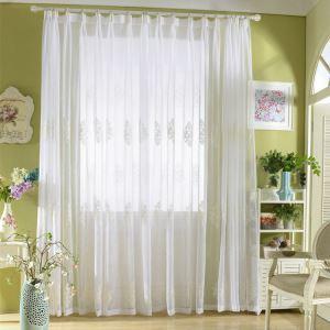 Gardine Modern Weiß Stickerei Design im Wohnzimmer (1er Pack)