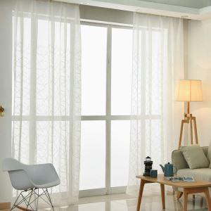 Moderne Gardine Geometrisch Design Weiß im Wohnzimmer (1er Pack)