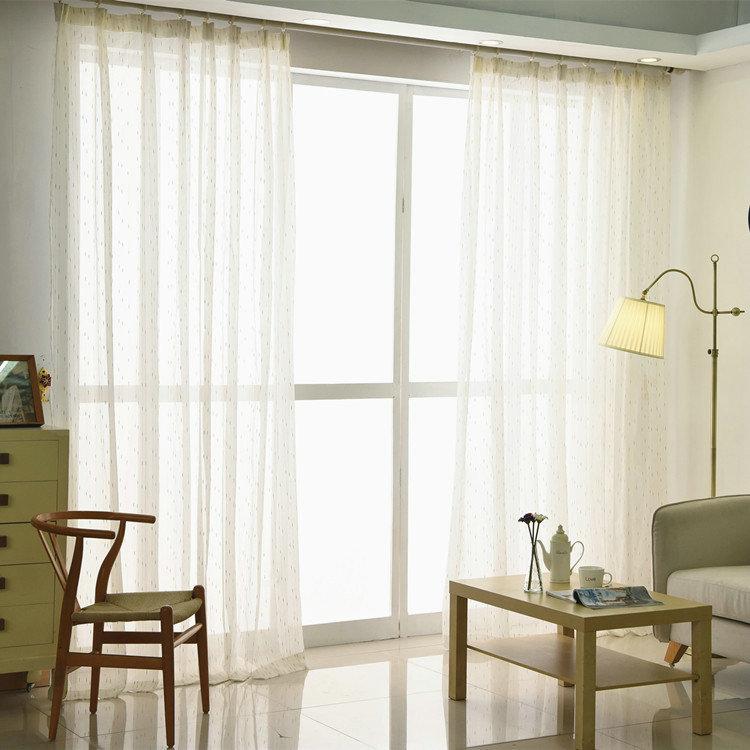Moderne Gardine Stickerei Design aus Leinen Weiß im Schlafzimmer