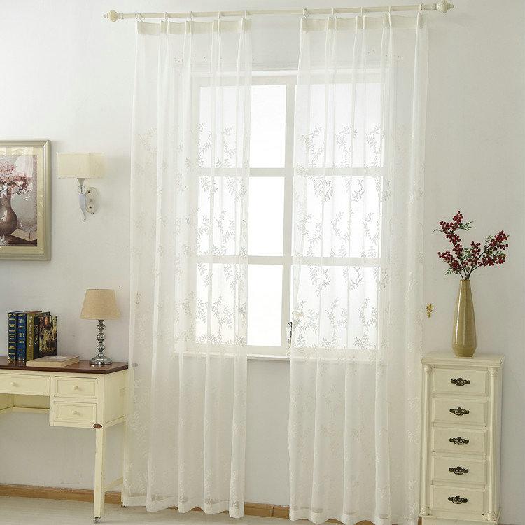 Moderne Gardine Stickerei Design Weiß im Wohnzimmer