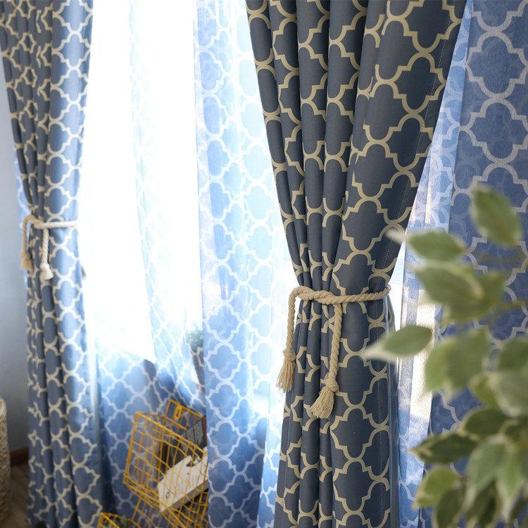 Vorhang Modern Raute Design aus Polyester im Schlafzimmer