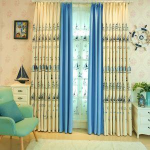 Moderner Vorhang Cartoon Segelboot Design aus Leinen im Wohnzimmer (1er Pack)
