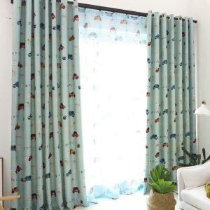Moderner Vorhang Cartoon Autos Design aus Polyester im Wohnzimmer (1er Pack)