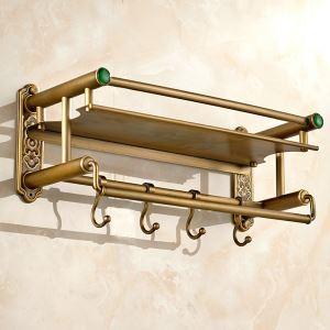 Handtuchhalter mit Hakenleiste Antik Messing Wandmontage im Badezimmer