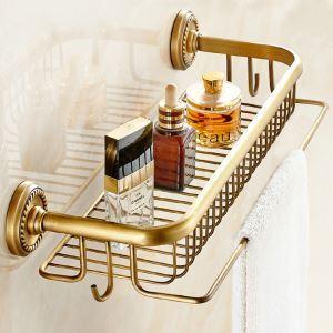 Antik Messing Duschkorb mit Mantelhaken im Badezimmer