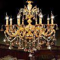 Moderner Kronleuchter Kristall Prachtvoll Gold 8-flammig