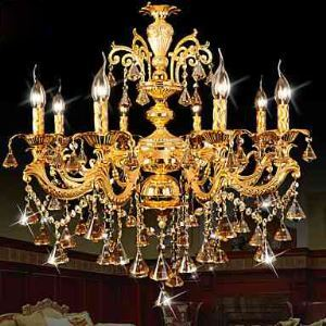 (EU Lager)Moderner Kronleuchter Kristall Prachtvoll Gold 8-flammig