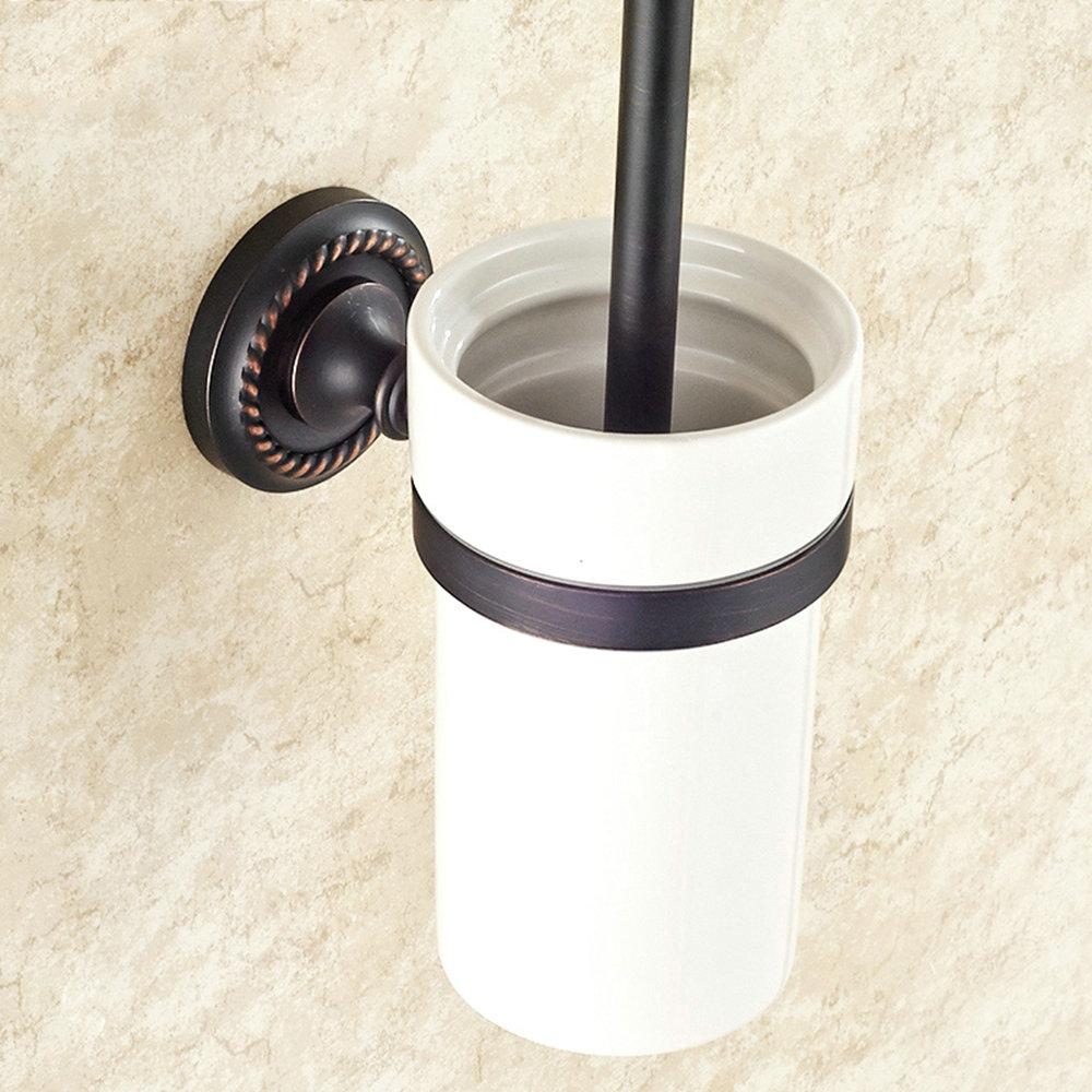 wc b rstenhalter bad aus messing schwarz wandmontage. Black Bedroom Furniture Sets. Home Design Ideas