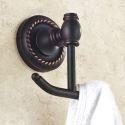Mantelhaken Doppelt Badezimmer aus Messing Schwarz Wandmontage