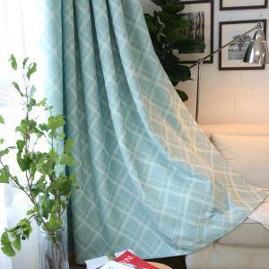 Moderner Vorhang Raute Jacquard Design Cyan im Wohnzimmer