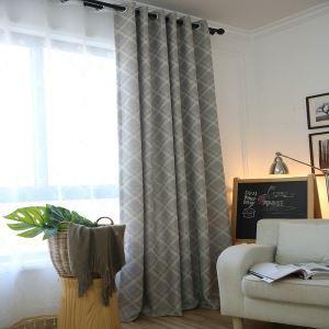 Moderner Vorhang Raute Jacquard Design Grau im Wohnzimmer