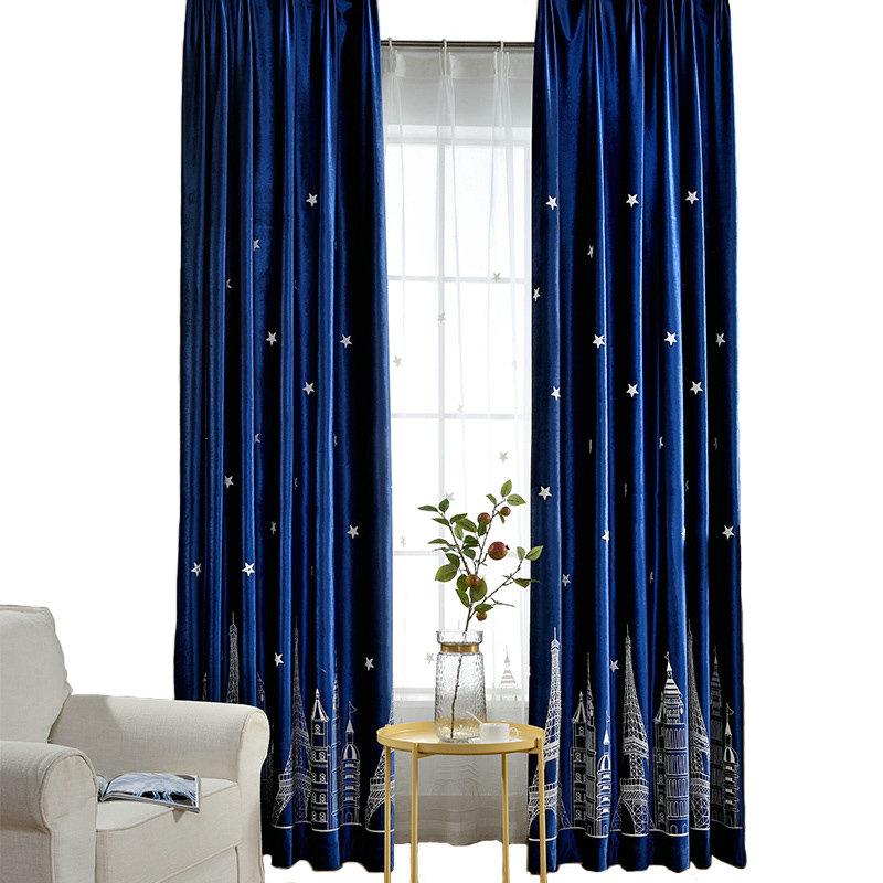 minimalismus vorhang blau flanell im kinderzimmer On vorhang kinderzimmer blau