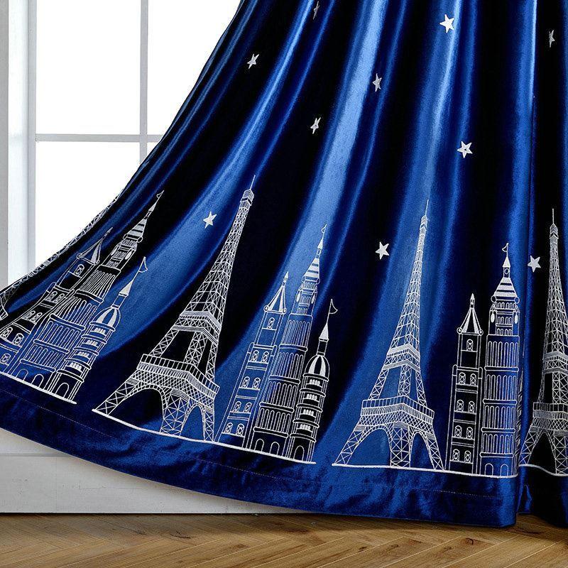 Minimalismus vorhang blau flanell im kinderzimmer for Vorhange kinderzimmer blau