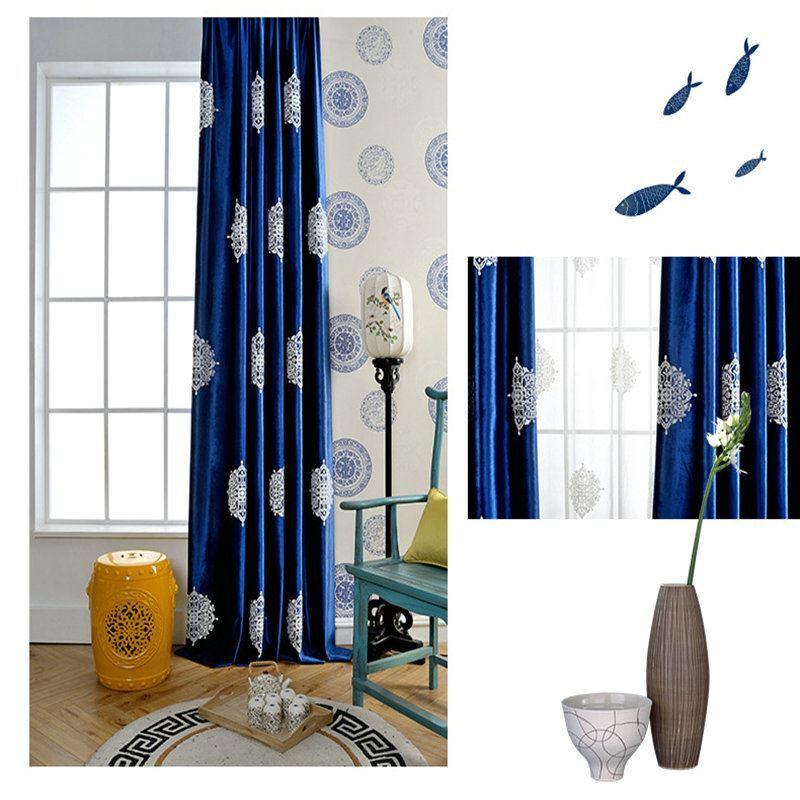 Moderner Vorhang Schneeflocke Design Blau Im Wohnzimmer