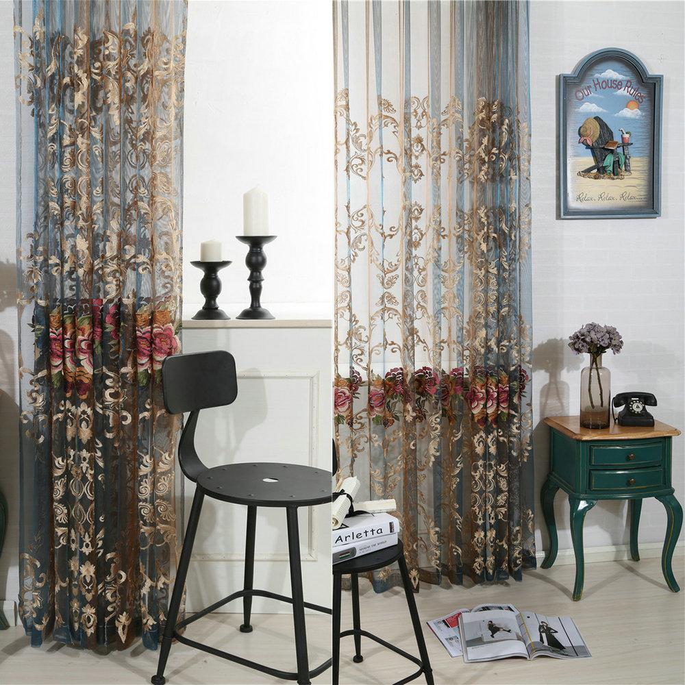 luxus farbverlauf gardine blumen stickerei im schlafzimmer. Black Bedroom Furniture Sets. Home Design Ideas