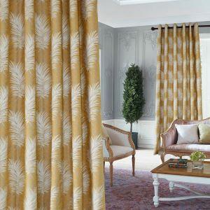 Moderner Minimalismus Vorhang Gelb Blatt Jacquard im Wohnzimmer