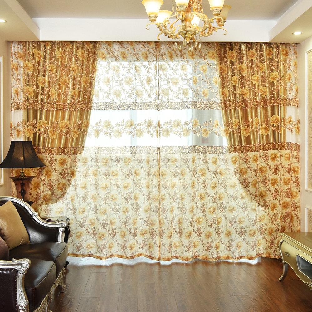 landhaus gardine blumen jacquard im schlafzimmer. Black Bedroom Furniture Sets. Home Design Ideas