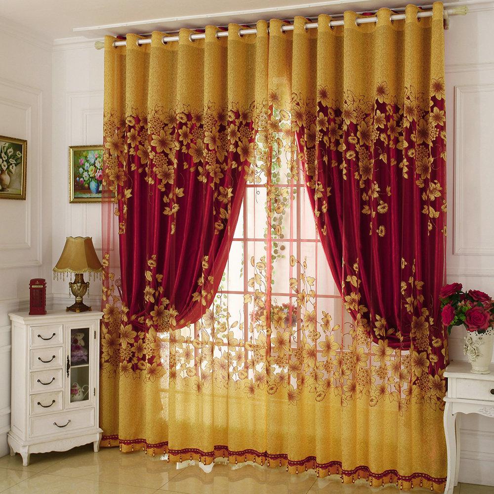 gardine blumen jacquard design im schlafzimmer. Black Bedroom Furniture Sets. Home Design Ideas