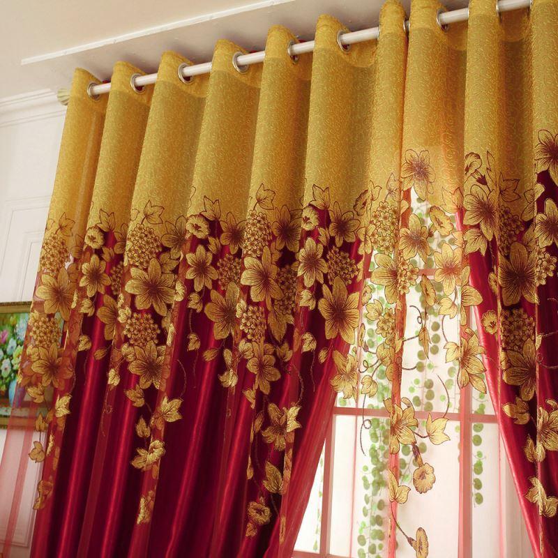 Gardine Blumen Jacquard Design Im Schlafzimmer