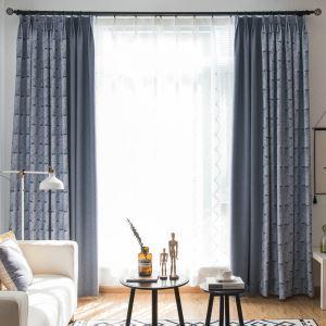 Moderner Vorhang Blau Blätter Design im Wohnzimmer