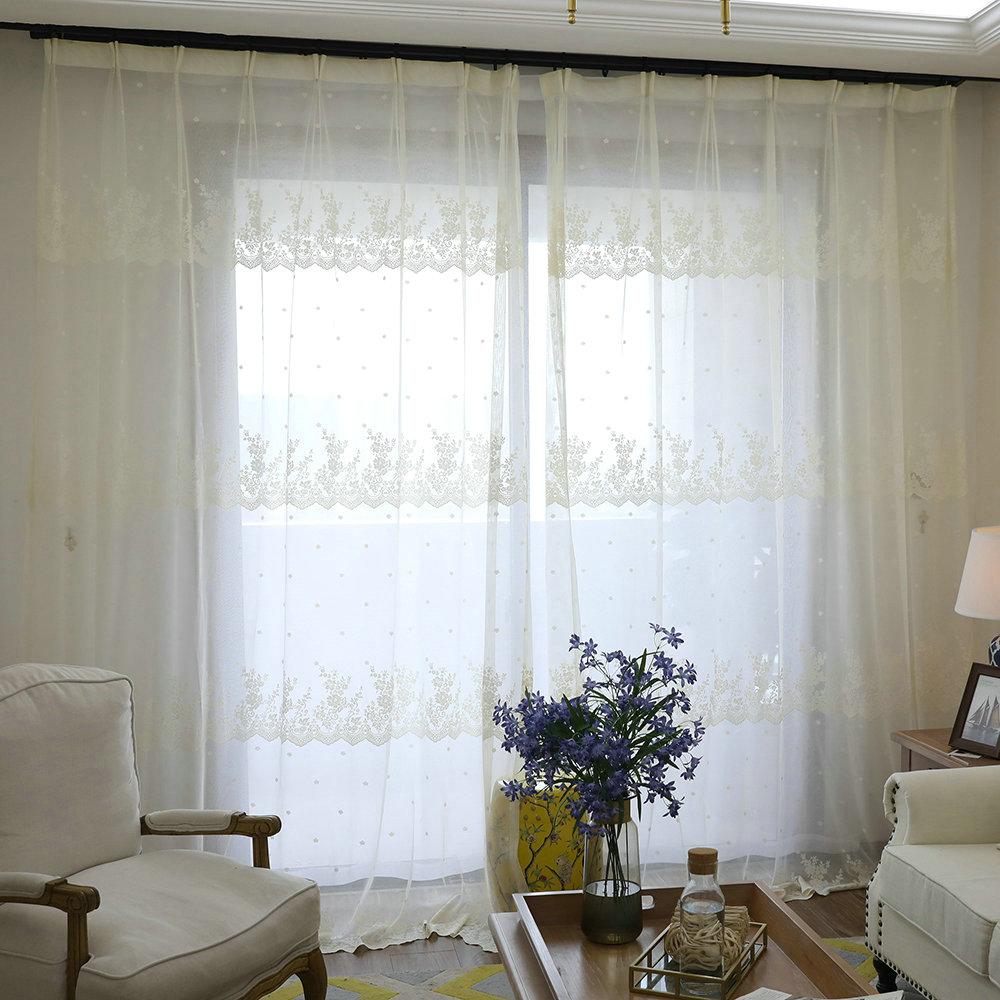 Japanische Gardine Weiß Blumen Jacquard Im Wohnzimmer