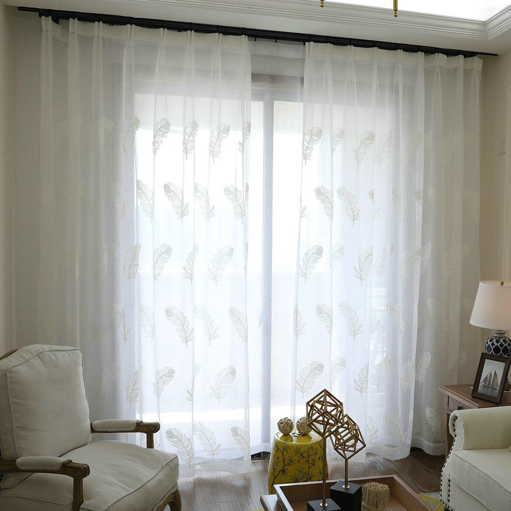 Minimalisimus Gardine Groß Feder Stickerei im Wohnzimmer