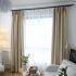Zeige Details für Unifarbe Vorhang Minimalismus Beige aus Leinen und Polyester im Wohnzimmer