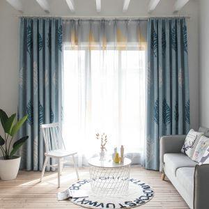 Vorhang Minimalisimus Blaugrau Große Blätter im Wohnzimmer