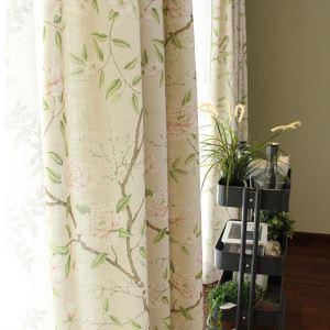 Landhaus Vorhang Beige Blumenzweig aus Leinen im Wohnzimmer