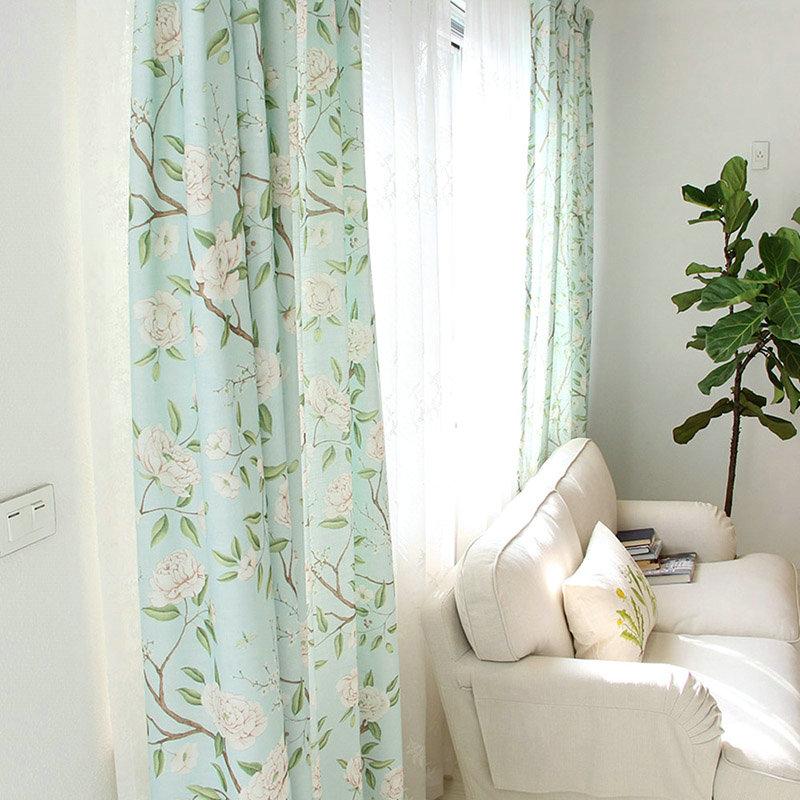 Landhaus Vorhang Blau Grün Blumenzweig Aus Leinen Im Wohnzimmer