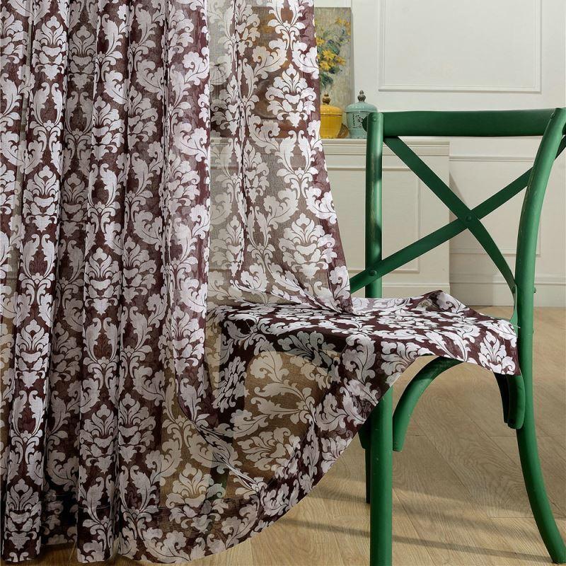 modern gardine braun blumen im schlafzimmer. Black Bedroom Furniture Sets. Home Design Ideas