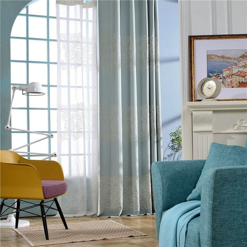 Minimalismus Vorhang Wolken Hellblau Sickerei Im Wohnzimmer