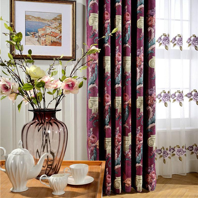 luxus vorhang landhaus lila blumen jaquard im schlafzimmer. Black Bedroom Furniture Sets. Home Design Ideas