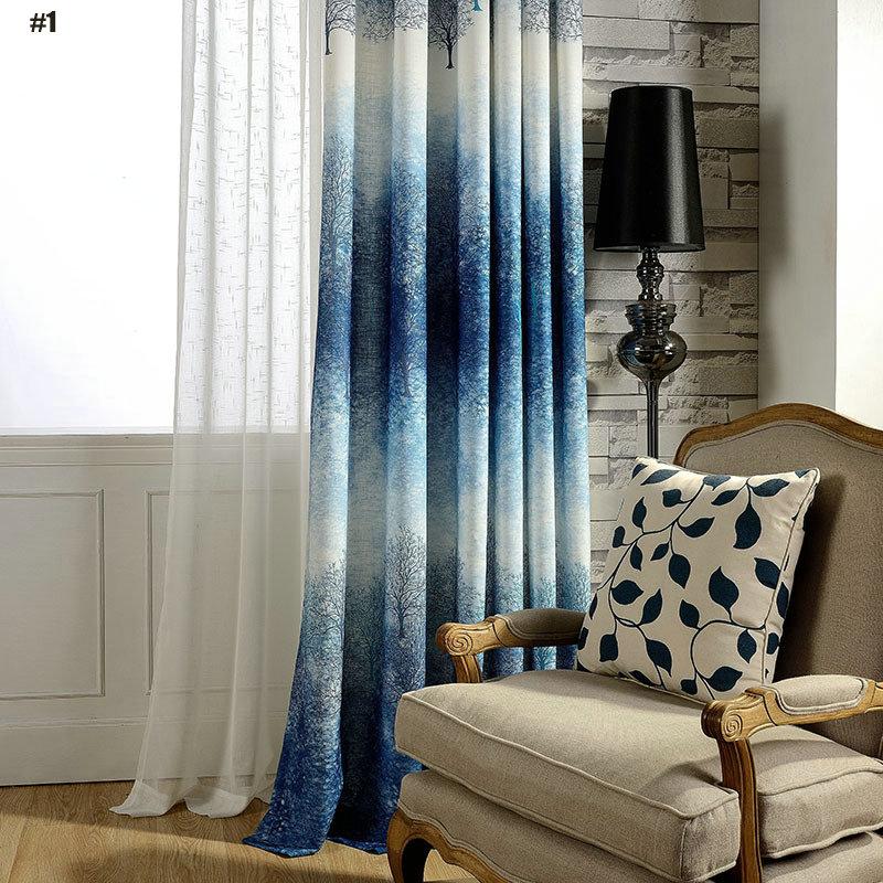 Moderner Vorhang Blau Farbverlauf Baum im Wohnzimmer