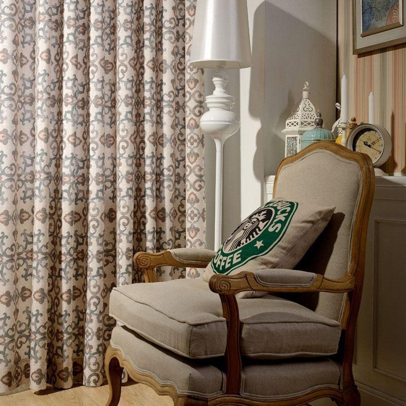 retro vorhang bunt blumen im schlafzimmer. Black Bedroom Furniture Sets. Home Design Ideas