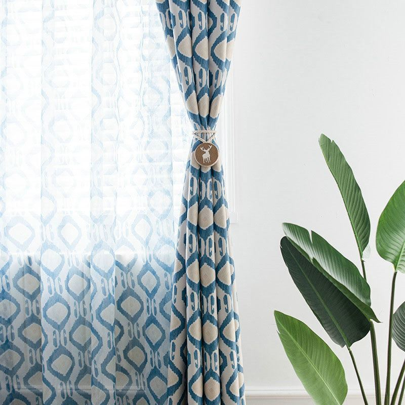 Minimalismus Vorhang Blau Geometrie Im Schlafzimmer