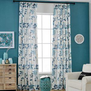 Modern Vorhang Blau Blumen Muster im Wohnzimmer