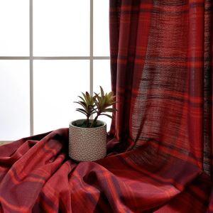Landhaus Vorhang Rot Gitter Muster im Schlafzimmer