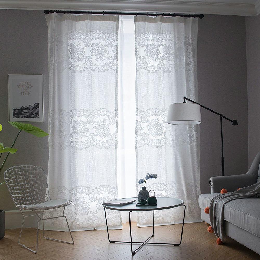 Japanische Gardine Weiß Blumen Jacquard im Schlafzimmer