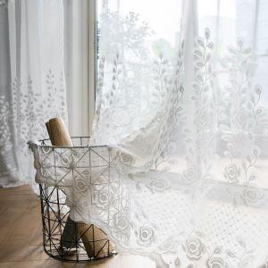 Modern Gardine Weiß Rose Design im Wohnzimmer