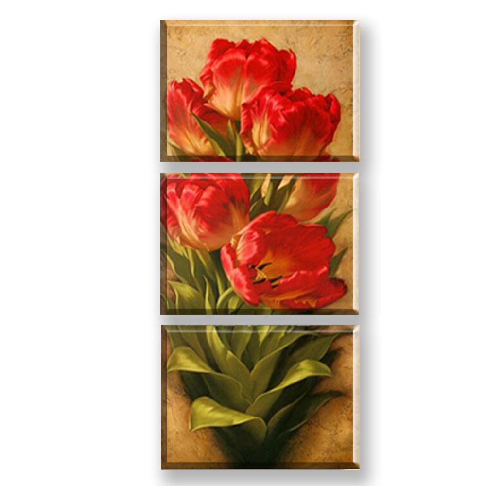 wandbild modern rote blumen design ohne rahme im schlafzimmer. Black Bedroom Furniture Sets. Home Design Ideas