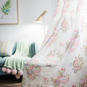 Minimalismus Gardine Rot Blumen Design im Wohnzimmer