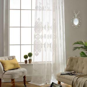 Minimalismus Gardine Weiß Blumen Design im Schlafzimmer