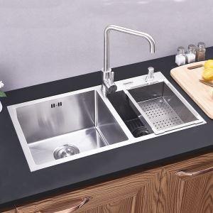 Moderne Einbauspüle Edelstahl Spülbecken Eckig für Küche HM7541