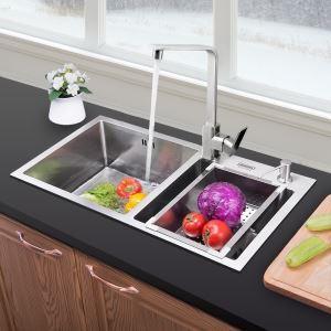 Moderne Einbauspüle Edelstahl Spülbecken Eckig für Küche HM7843