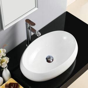 Aufsatzwaschbecken Keramik Weiß Waschbecken Bad Oval 48cm (ohne Wasserhahn)