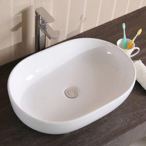 Keramik Waschbecken Weiß Aufsatzwaschbecken Oval 49cm (ohne Wasserhahn)